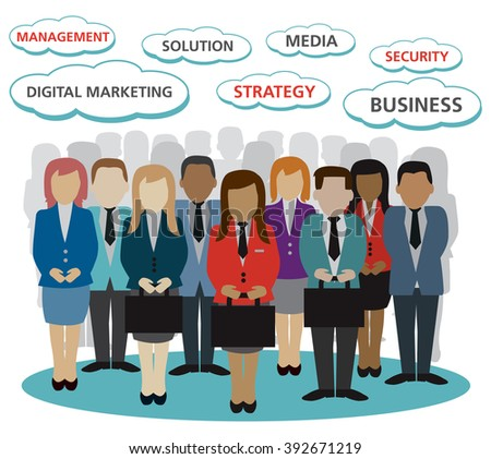 digital marketing business peoples related vector version 10 - stock vector