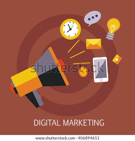 Digital Marketing Concept Art Flat Vector Illustration In Bright Colors Infographic Style With Text - stock vector