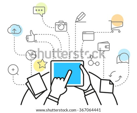 Digital marketing concept via modern digital gadget. Simple line design illustration - stock vector