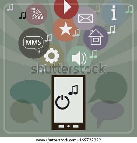 Digital marketing concept with media colorful icons and smartphone isolated on green modern art