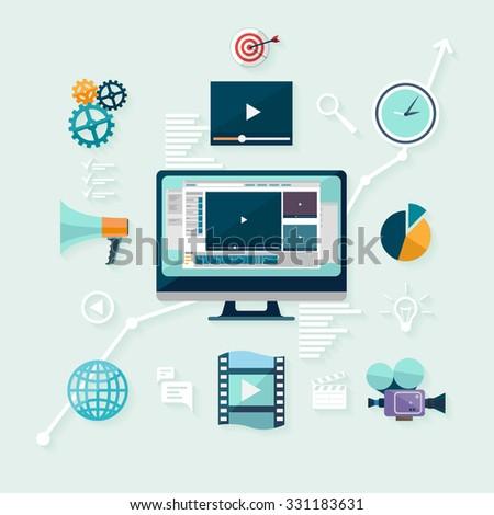 Digital marketing. Flat design. - stock vector