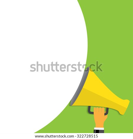 Digital marketing. Megaphone for website and promotion banners. Flat design. - stock vector