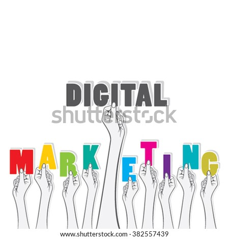Digital marketing text banner hold in hand design vector - stock vector