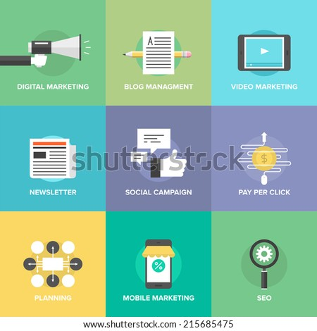 Digital marketing, video advertising, social media campaign, newsletter promotion, blog management, pay-per-click service, website seo optimization. Flat design icons set modern vector illustration. - stock vector
