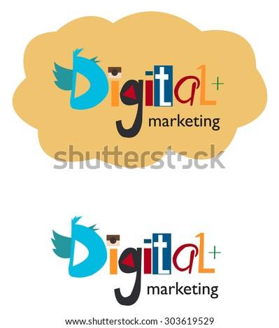 Digital marketing word concept. Vector illustration - stock vector