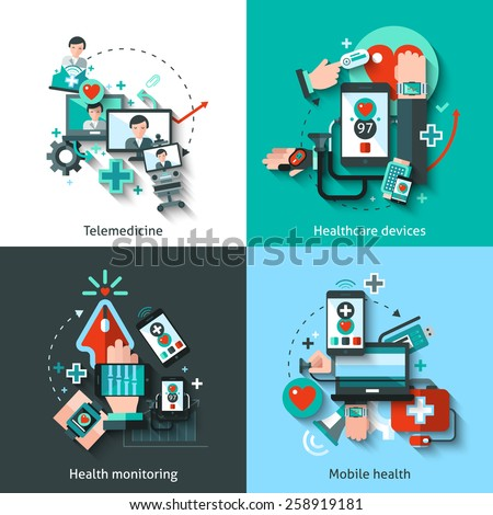 Digital medicine design concept set with telemedicine healthcare devices mobile health monitoring flat icons isolated vector illustration - stock vector