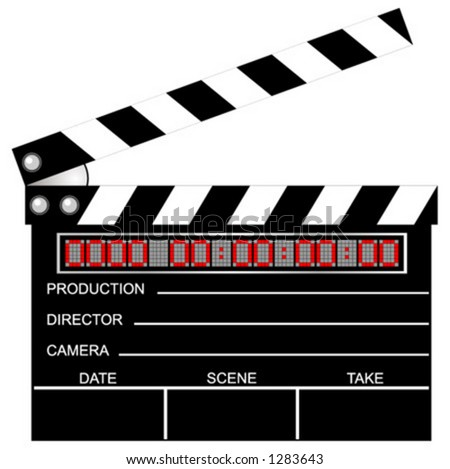 Digital movie clapboard. Vector. Scalable. Full editable. Change the digital numbers as you wish.