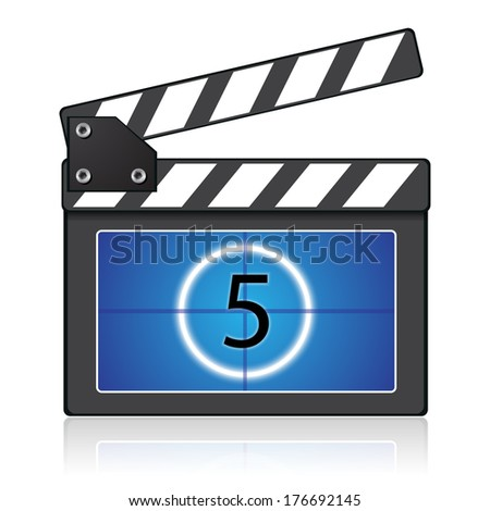 Digital multimedia entertainment concept, black and blue clapper board for film - stock vector