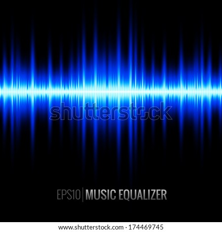 Digital Music Equalizer - Blue - stock vector