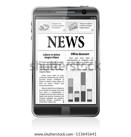 Digital News Concept with Business Newspaper on screen Smart Phone, vector