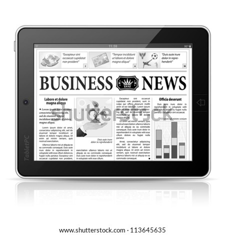 Digital News Concept with Business Newspaper on screen Tablet PC, vector - stock vector