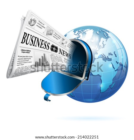 Digital News Concept with Business Newspaper, Open Mailbox and Earth, vector isolated on white background - stock vector
