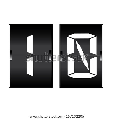 digital number 10 on a mechanical timetable  - stock vector