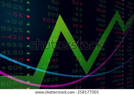 Digital number on stock price board, vector art and illustration. - stock vector