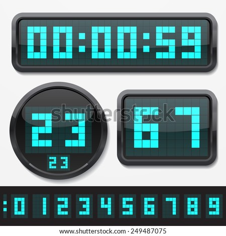 digital numbers and basic clock body shapes set.(dot style cyan numbers and shiny plastic body version) - stock vector