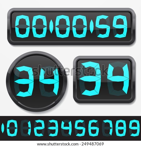 digital numbers and basic clock body shapes set.(fat style cyan numbers and shiny plastic body version)