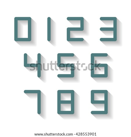 Digital numbers from one to nine with a long shadow, vector illustration.