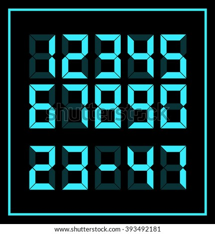DIGITAL NUMBERS. LED NUMBERS. TECHNOLOGY. Electronic numbers. - stock vector