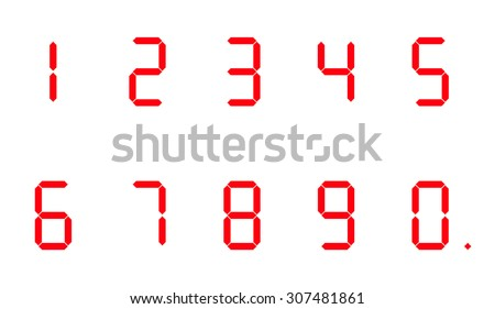Digital numbers on a white background - stock vector