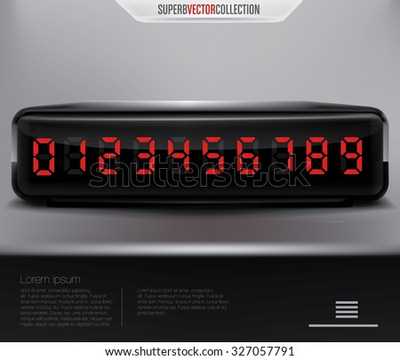 Digital numeric display or clock. High quality vector