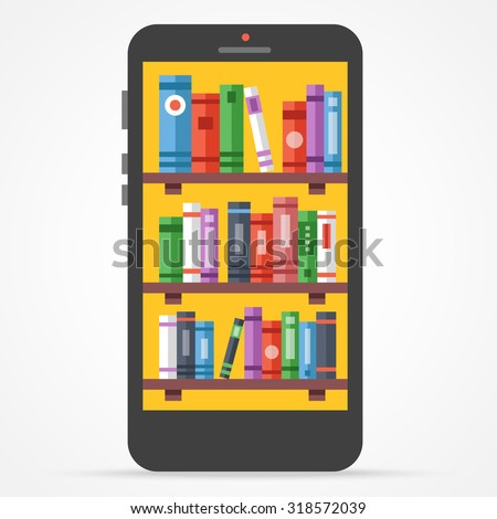 Digital online library on smartphone. Distance education with modern technology flat illustration. Flat design concept for web banners, web sites, printed materials, infographics. Vector illustration - stock vector