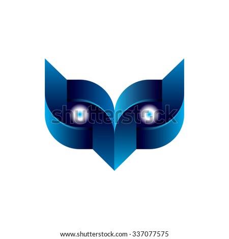 Digital Owl Icon Logo Element - stock vector