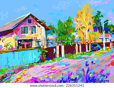 digital painting of autumn rural landscape with hut, vector illustration
