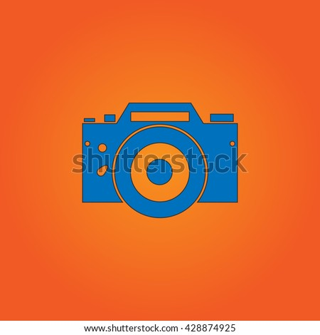 Digital photo camera Blue flat icon with black stroke on orange background. Collection concept vector pictogram for infographic project and logo - stock vector