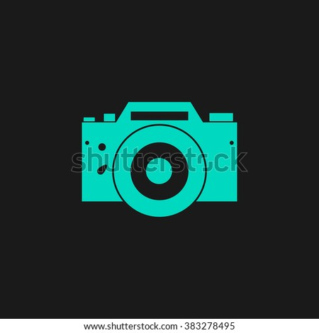 Digital photo camera Flat simple modern illustration pictogram. Collection concept symbol for infographic project and logo - stock vector