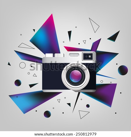 Digital photo camera icon on background  with geometric forms explosion - stock vector