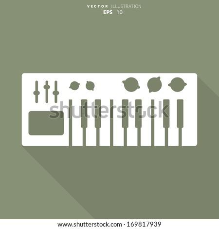 digital piano synthesizer icon - stock vector