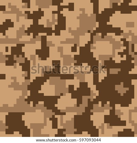Digital Pixel Camouflage Seamless Pattern For Your Design Desert Color Fabric Vector