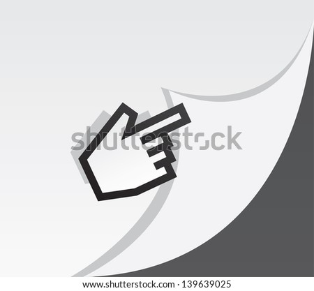 Digital pointer hand turning a page  - stock vector