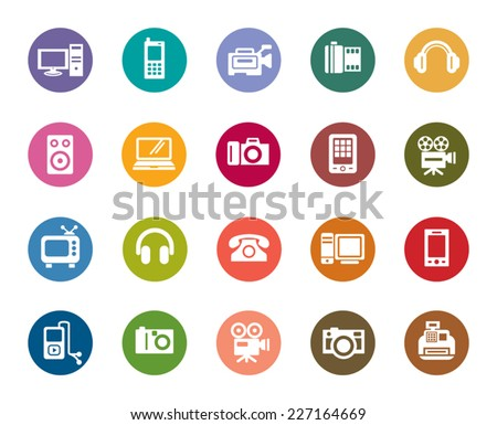 Digital Products Color Icons - stock vector
