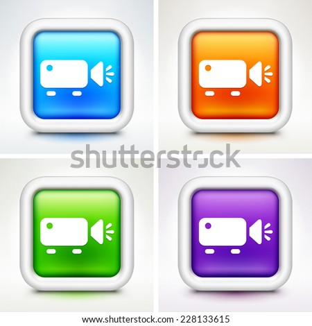 Digital Projector on Multi Color Square Buttons