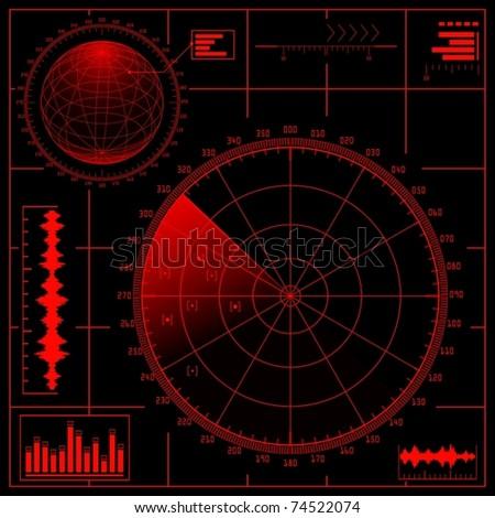 Digital Radar screen with globe. Vector EPS8. - stock vector