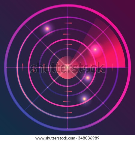 Digital radar with the aims on monitor. Vector illustration. - stock vector
