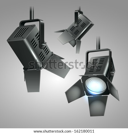 Digital realistic 3d stage spotlights vector illustration - stock vector
