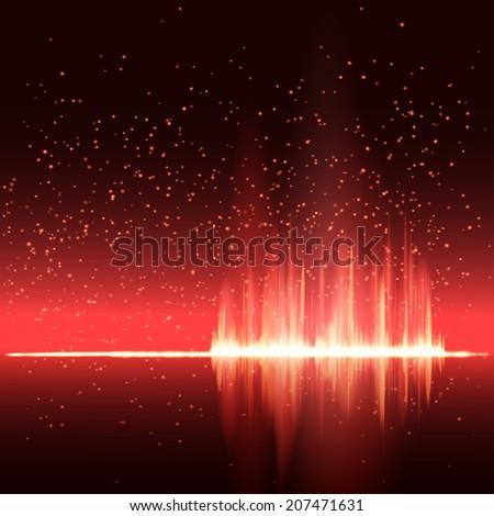 Digital red light Equalizer background. Vector illustration - stock vector
