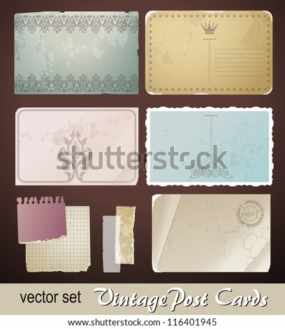 Digital scrapbooking kit_ old paper_vintage shapes and textures_1 - stock vector