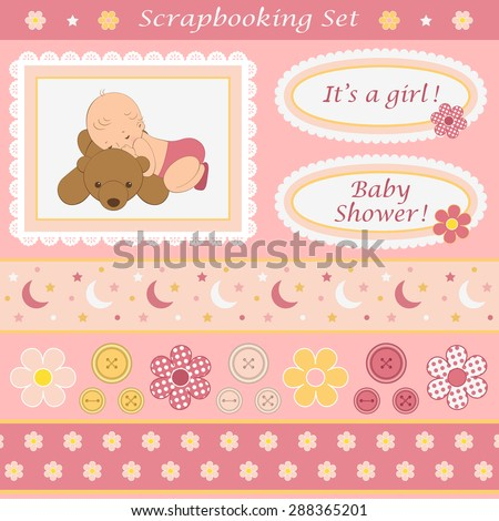 Digital scrapbooking set for baby girl. Design elements for your layouts or scrapbooking projects. Vector illustration. - stock vector