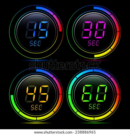 digital second counter - stock vector