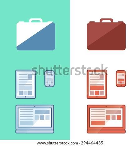 Digital set, laptop, tablet, smart phone in vector - stock vector