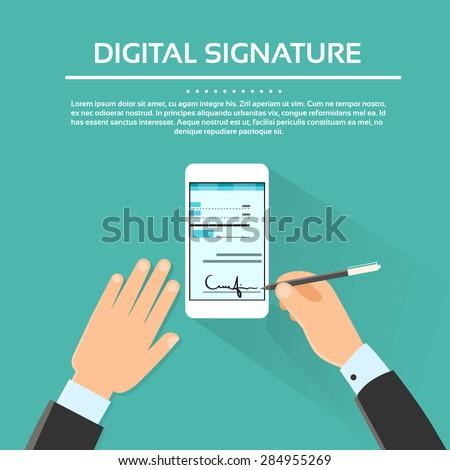 Digital Signature Smart Cell Phone Businessman Hands Sign Up Flat Vector Illustration - stock vector