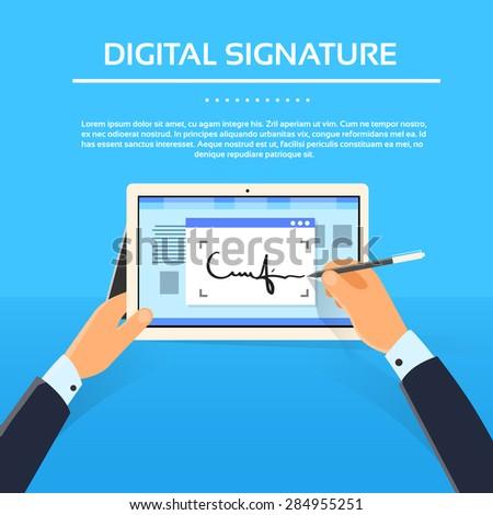 Digital Signature Tablet Computer Businessman Hands Sign Up Flat Vector Illustration - stock vector