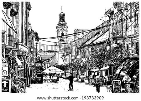 digital sketch vector black and white illustration of Uzhgorod cityscape, Ukraine - stock vector