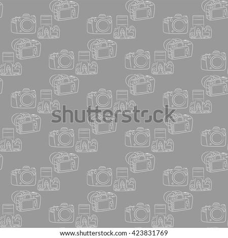 Digital SLR camera  on a gray background seamless pattern - stock vector