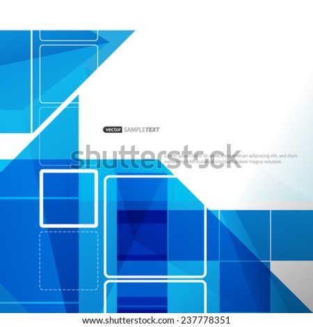 Digital Squares Abstract Blue Background - stock vector