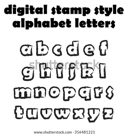 Digital stamp style alphabet letters. Graphic design elements. Vector illustration   - stock vector