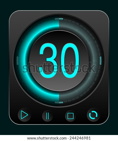 Digital StopWatch. Set of Timers with Various Indications the Time. Timer. Clock - stock vector